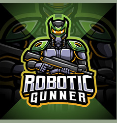 Robotic gunner esport mascot logo vector
