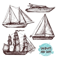 Sail Ships Set vector