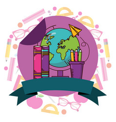 School supplies teacher day vector