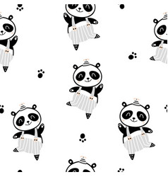 Seamless childish pattern with cute panda boy in vector