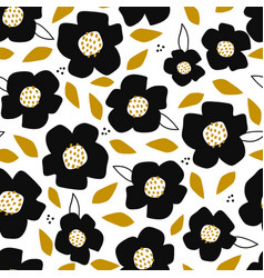 seamless pattern with abstract cutout flowers and vector image