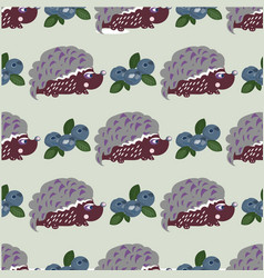Seamless pattern with cute hedgehogs kids vector