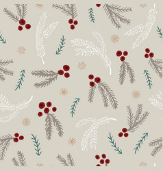 seamless pattern with holly berry and spruce leave vector image