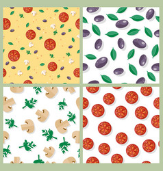 Seamless pattern with tomatoes olives mushrooms vector