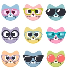 set of cartoon cats with sunglasses vector image