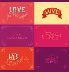 Set of vintage frames on coloured backgrounds vector