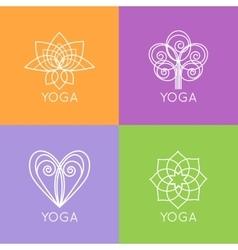 set outline yoga monograms and logos abstract vector image
