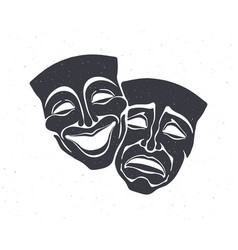 Silhouette two theatrical comedy and drama mask vector