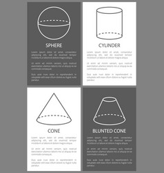 Sphere cylinder cone and blunted cone shape vector