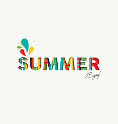 summer vacation color quote paper cut fun text vector image