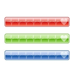Three ekg buttons in various colors vector