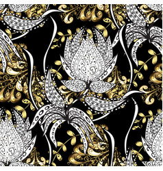 Traditional classic golden seamless pattern black vector
