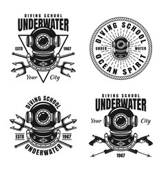 underwater diving school set of emblems vector image