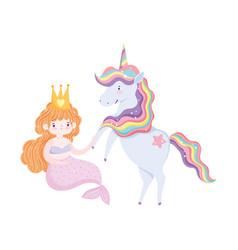 unicorn and mermaid cartoon isolated icon design vector image