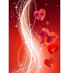 Valentines background with diamond hearts vector image