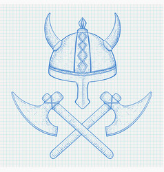viking axes and horned helmet hand drawn sketch vector image