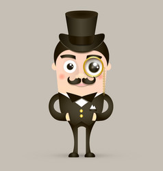 Vintage britain gentleman in hat vector image