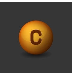 Vitamin C Orange Glossy Sphere Icon on Dark vector image