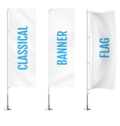 White textile classical banner flags banner flag vector