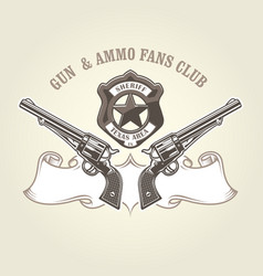 wild west emblem with pistols and sheriff badge vector image