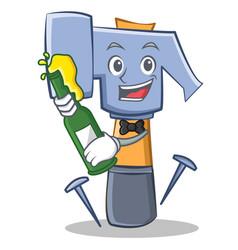 With beer hammer character cartoon emoticon vector