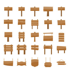Wooden signboards icons pack vector