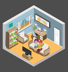 young loving couple watching tv vector image