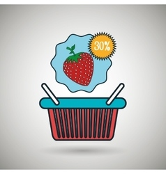 basket red buy fruit vector image