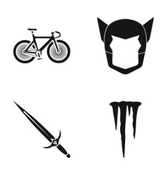 bicycle mask and other web icon in black style vector image vector image