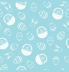 easter pattern with eggs basket and bunny white vector image vector image