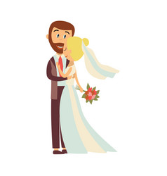 groom and bride hug each other isolated vector image vector image