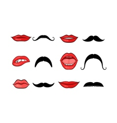Lady lips and gentleman mustaches vector image
