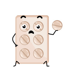 medical tablet blister cute cartoon character vector image vector image