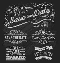 Set of save the date typography frame vector image vector image