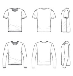 Simple outline drawing of a mens blank t-shirt and vector image vector image