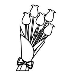 bouquet flower natural present ornament line vector image vector image