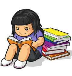 Cartoon of Girl Student Studying Reading Book vector image vector image