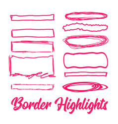 hand drawn highlighter elements borders vector image