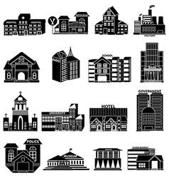 Public buildings icons set vector image vector image