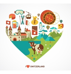 Switzerland love - heart with icons vector image vector image