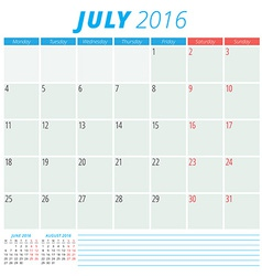 Calendar 2016 flat design template July Week vector image vector image