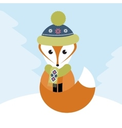 Fox in the winter forest vector image vector image