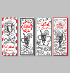 hand drawn mulled wine banners set black vector image