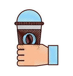 Hand human with coffee plastic cup icon vector