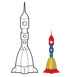 Rocket coloring book Space transport astronauts vector image vector image