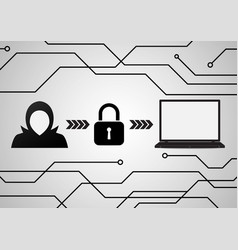 technology digital cyber security laptop lock vector image