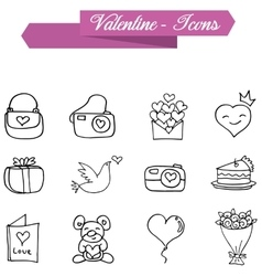 Valentine element of icons with hand draw vector image