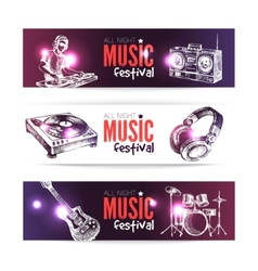 Banners of music design Set of hand drawn sketch vector image