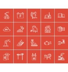 Industry sketch icon set vector image vector image