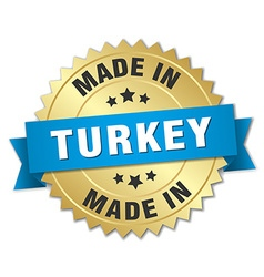 made in Turkey gold badge with blue ribbon vector image vector image